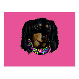 Long Haired Black Doxie Mardi Gras Postcard