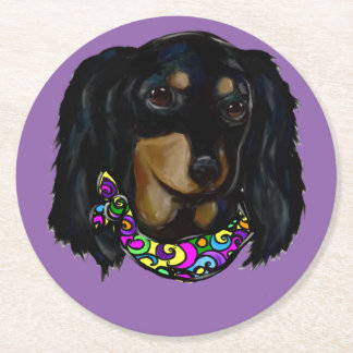 Long Haired Black Doxie Mardi Gras Round Paper Coaster