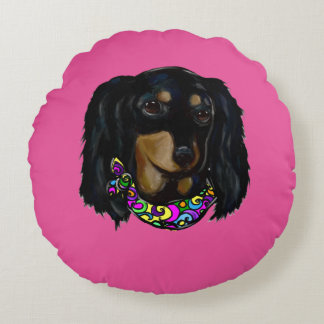 Long Haired Black Doxie Mardi Gras Round Pillow