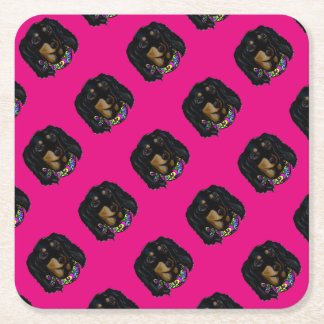 Long Haired Black Doxie Mardi Gras Square Paper Coaster