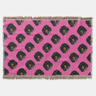 Long Haired Black Doxie Mardi Gras Throw Blanket