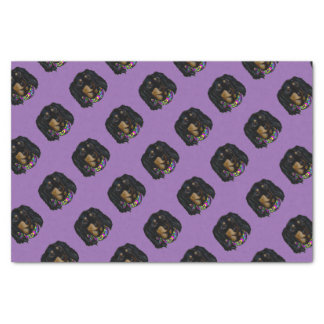 Long Haired Black Doxie Mardi Gras Tissue Paper
