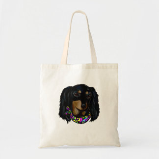 Long Haired Black Doxie Mardi Gras Tote Bag
