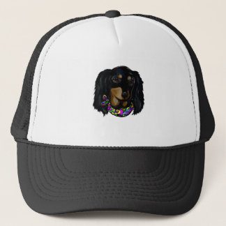 Long Haired Black Doxie Mardi Gras Trucker Hat