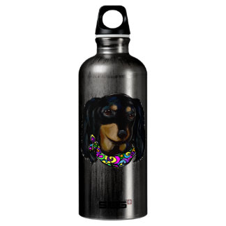 Long Haired Black Doxie Mardi Gras Water Bottle