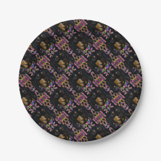 Long Haired Black Doxie Paper Plate