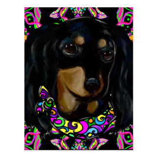 Long Haired Black Doxie Postcard