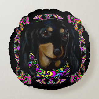 Long Haired Black Doxie Round Pillow