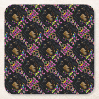 Long Haired Black Doxie Square Paper Coaster