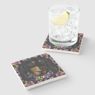 Long Haired Black Doxie Stone Coaster