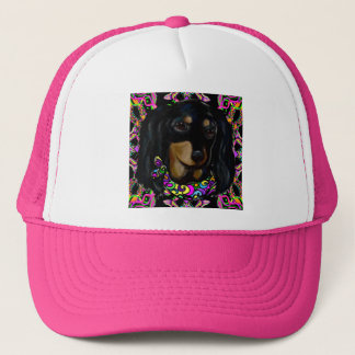 Long Haired Black Doxie Trucker Hat