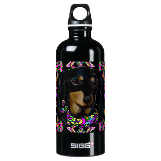 Long Haired Black Doxie Water Bottle