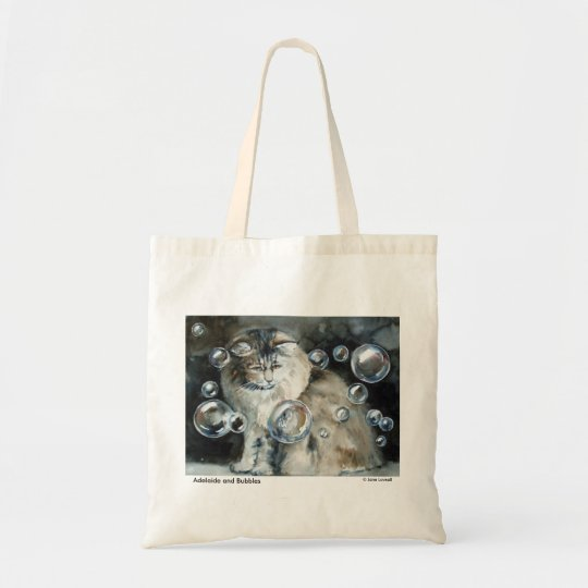 Long Haired Cat and Bubbles Tote Bag