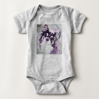 Long Haired Chihuahua by Carol Zeock Baby Bodysuit