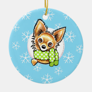 Long Haired Chihuahua Let it Snow Ceramic Ornament