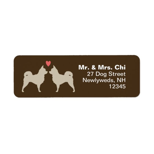 Long Haired Chihuahuas with Heart Return Address Label