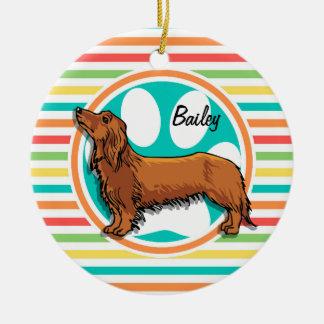 Long-haired Dachshund; Bright Rainbow Stripes Ceramic Ornament