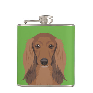 Long-Haired-Dachshund Hip Flask