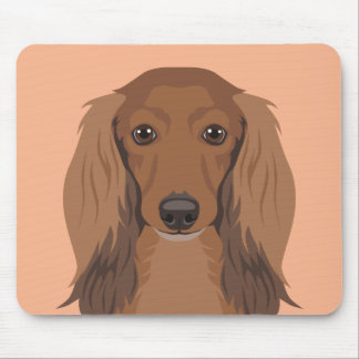 Long-Haired-Dachshund Mouse Pad