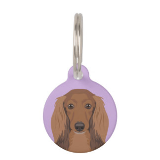 Long-Haired-Dachshund Pet ID Tag