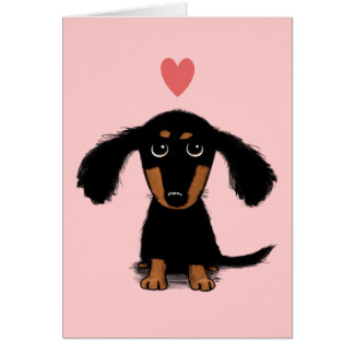 Long Haired Dachshund Puppy - Love Valentine Card