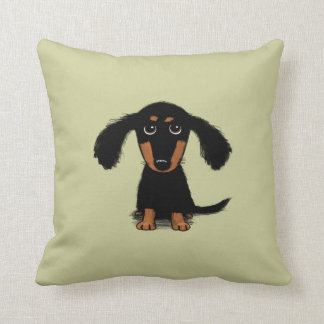 Long Haired Dachshund Puppy Throw Pillow