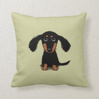 Long Haired Dachshund Puppy Throw Pillows