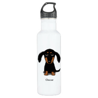 Long Haired Dachshund Puppy with Custom Text 710 Ml Water Bottle
