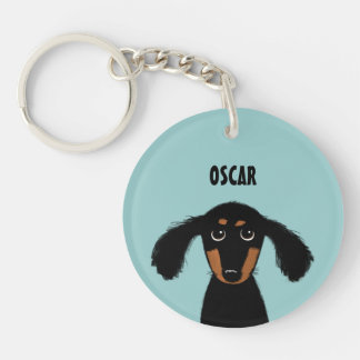 Long Haired Dachshund Puppy with Custom Text Keychain