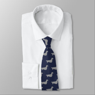 Long Haired Dachshund Silhouettes Pattern Blue Tie