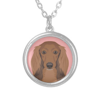 Long-Haired-Dachshund Silver Plated Necklace