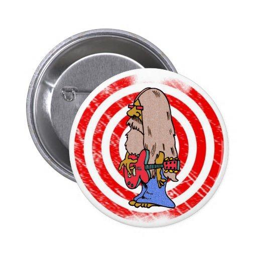 Long Haired Hippie Rocker Pinback Buttons