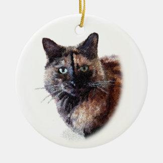 Long Haired Tortoise Shell Cat Ornament
