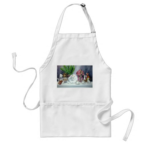 Long Haired White Cat Apron