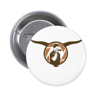 Long Horn Bull Videography 2 Inch Round Button