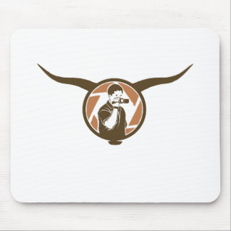 Long Horn Bull Videography Mouse Pad