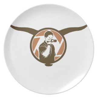 Long Horn Bull Videography Party Plate