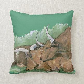 Long Horn Cattle Throw Pillow