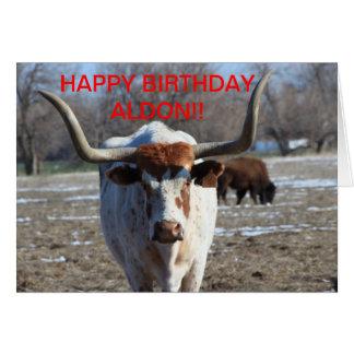 Long Horn Cow Birthday Card