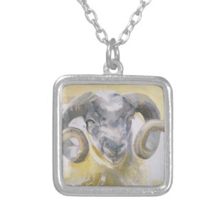 Long Horn Sheep 2 Silver Plated Necklace