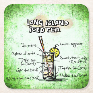 Long Island Iced Tea Drink Recipe Square Paper Coaster