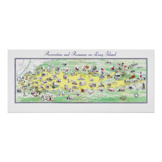 Long Island Map: Miles of Recreation and Romance Poster