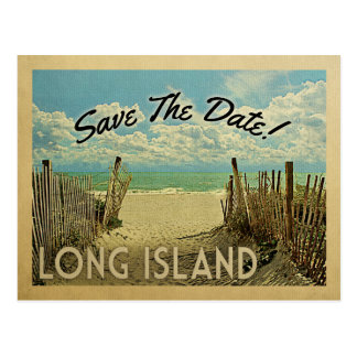 Long Island Save The Date Vintage Beach Nautical Postcard