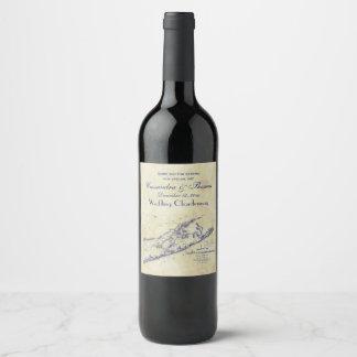 Long Island The Hamptons Map, Distressed BG #3 Wine Label
