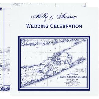 Long Island The Hamptons Map SQ Wedding Card
