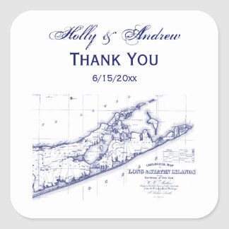 Long Island The Hamptons Map Square Sticker