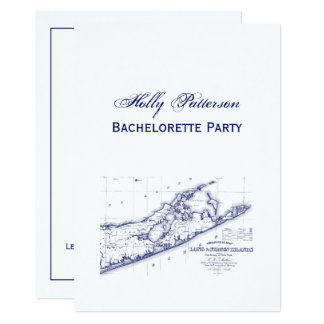 Long Island The Hamptons Map VC Bachelorette Party Card