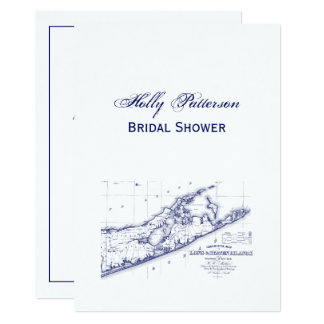 Long Island The Hamptons Map VC Bridal Shower Card