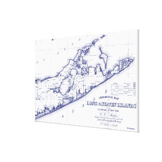 Long Island The Hamptons Map VC Canvas Print