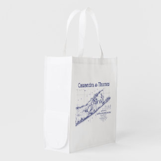 Long Island The Hamptons Map VC Reusable Grocery Bag